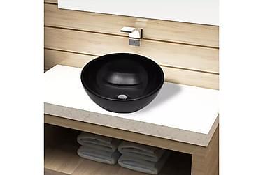 Handfat i svart keramik rund