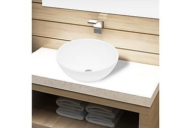 Handfat i vit keramik rund