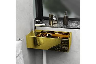 Handfat med bräddavlopp 49x25x15 cm keramik guld