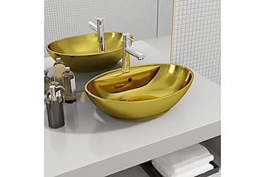 Handfat med bräddavlopp 58,5x39x21 cm keramik guld