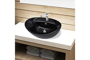 Handfat svart i oval keramik m. kranhål & översvämningshål