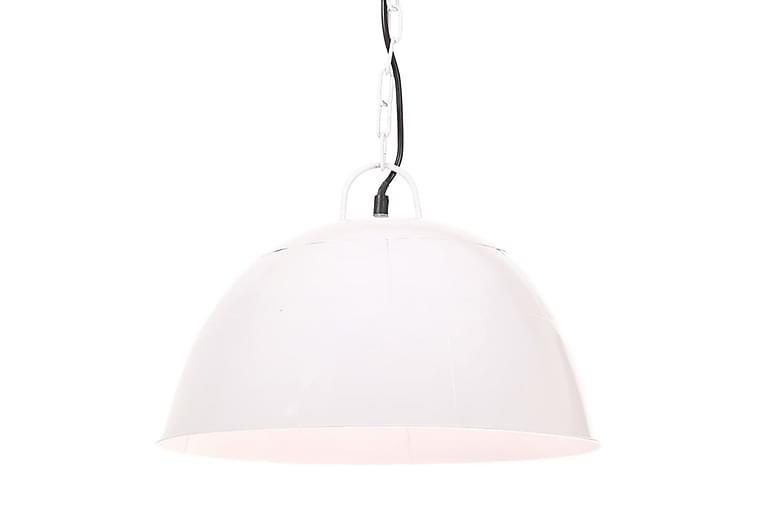 Hänglampa industriell vintage 25 W vit rund 41 cm E27 - Vit - Belysning - Inomhusbelysning & Lampor - Taklampa