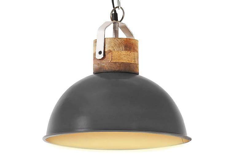 Industriell hänglampa grå rund 32 cm E27 massivt mangoträ - Belysning - Inomhusbelysning & Lampor - Taklampa