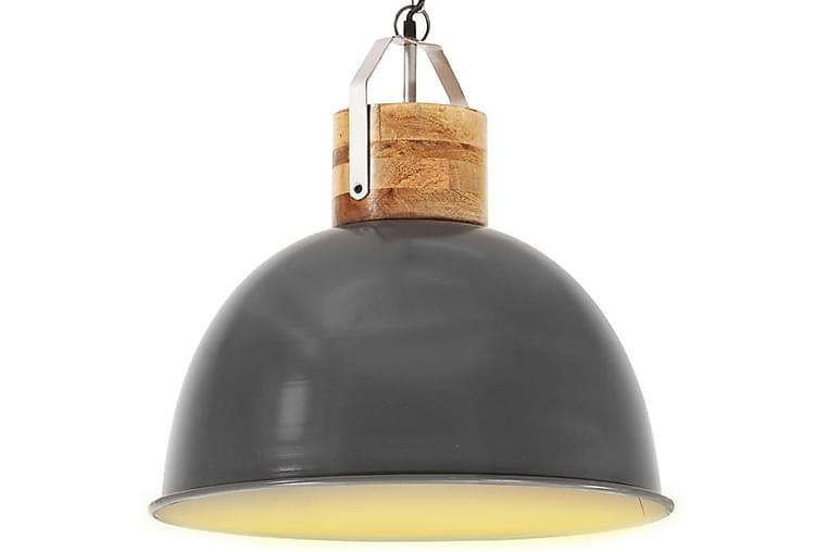 Industriell hänglampa grå rund 51 cm E27 massivt mangoträ - Belysning - Inomhusbelysning & Lampor - Taklampa