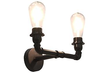 Vägglampa 2-vägs svart 2 x E27-lampor