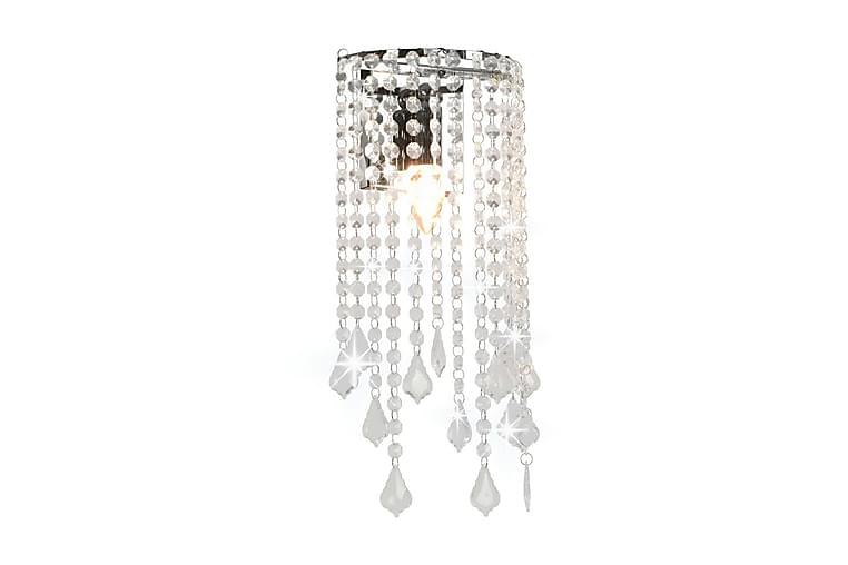 Vägglampa med kristallpärlor silver rektangulär E14-lampor - Silver - Belysning - Inomhusbelysning & Lampor - Vägglampa