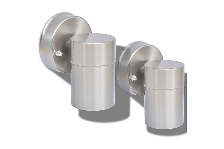 Utomhusvägglampa 2 st rostfritt stål nedåt - Silver - Belysning - Utomhusbelysning - Fasadbelysning