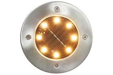 Marklampor soldrivna 8 st LED varmvit