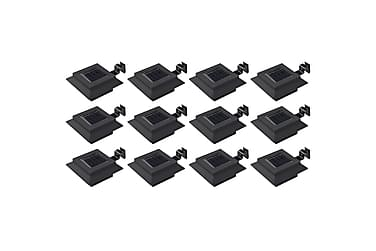 Solcellslampor 12 st LED fyrkantiga 12 cm svart