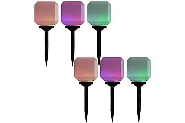 Solcellslampor med LED 6 st kubiska 20 cm RGB