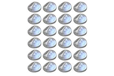 Soldrivna vägglampor 24 st LED runda silver