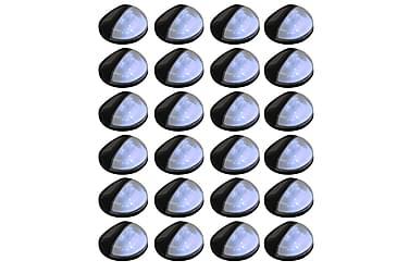 Soldrivna vägglampor 24 st LED runda svart