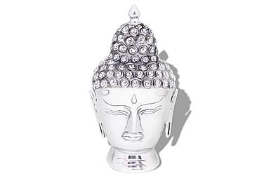 Buddhahuvud-dekoration aluminium silver