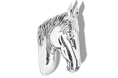 Väggmonterad hästhuvud-dekoration aluminium silver
