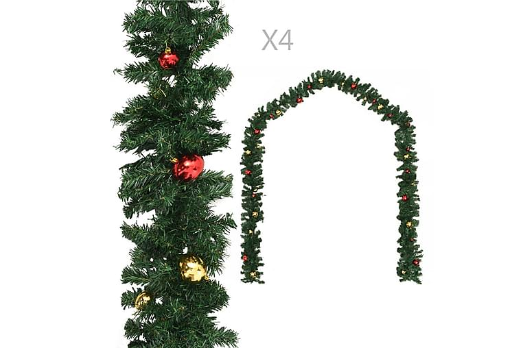 Julgirlanger 4 st med julkulor grön 270 cm PVC - Grön - Heminredning - Dekoration - Julpynt & juldekoration