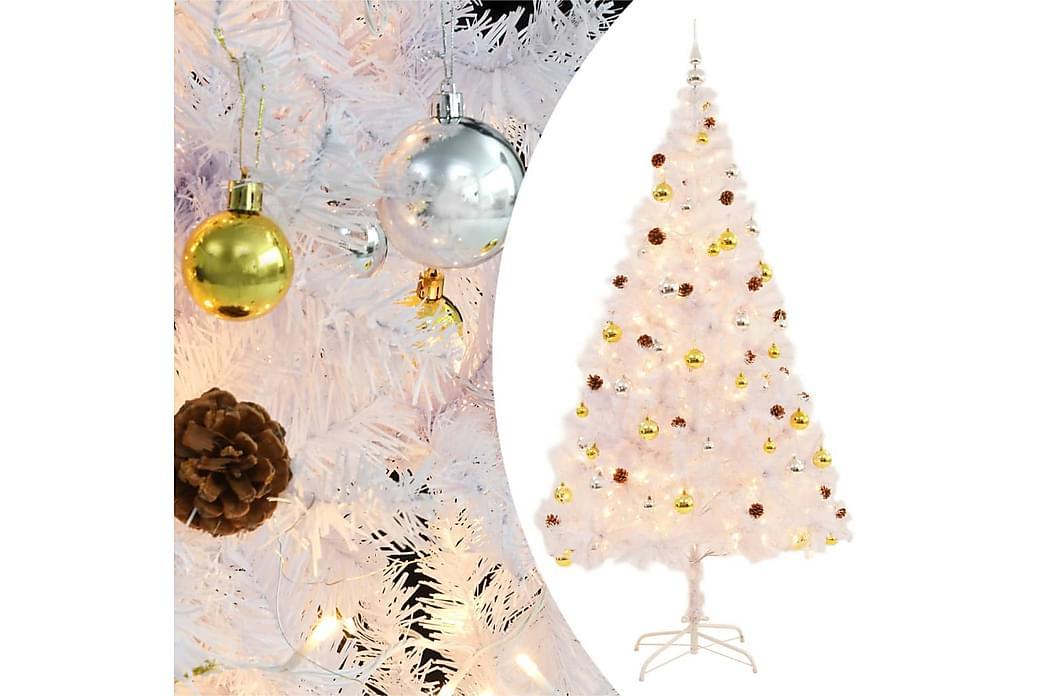 Plastgran dekorerad med julkulor och LED 210 cm vit - Vit - Heminredning - Dekoration - Julpynt & juldekoration