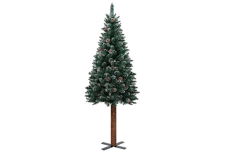 Smal plastgran med äkta trä och kottar vit snö grön 180 cm - Grön - Heminredning - Dekoration - Julpynt & juldekoration