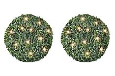 Trädgårdsbelysning Buxbomboll 35 cm Solcell 2-pack