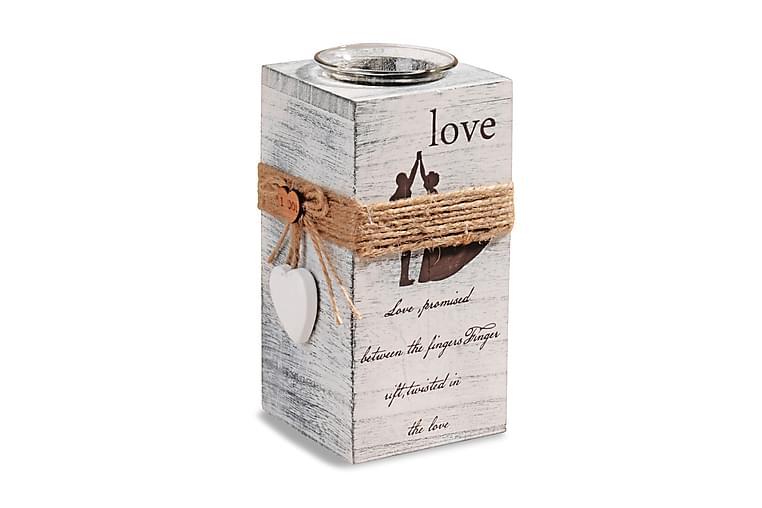 Kosova Värmeljusstake 8x18 cm Love Trä - Vit - Heminredning - Dekoration - Doftljus & rumsdofter