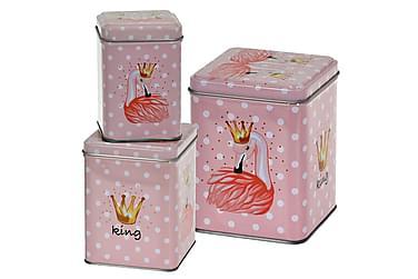 Leandre Burk Flamingo Fyrkantig Prickig Set om 3