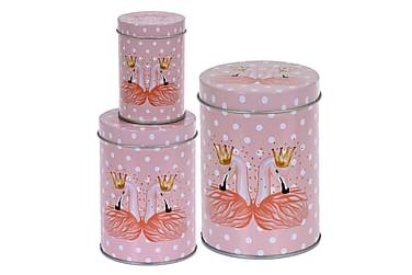 Leandre Burk Flamingo Rund Prickig Set om 3