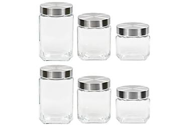 Förvaringsburkar i glas med korklock 6 st 800/1200/1700 ml