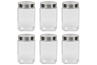 Förvaringsburkar i glas med silvriga lock 6 st 1700 ml
