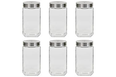 Förvaringsburkar i glas med silvriga lock 6 st 2100 ml