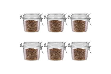 Förvaringsburkar med klämlock 6 st 340 ml