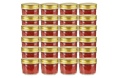 Syltburkar i glas med guldfärgade lock 24 st 110 ml