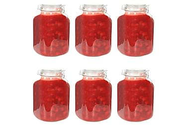 Syltburkar i glas med lock 6 st 5 L