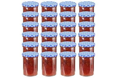Syltburkar i glas med vita och blåa lock 24 st 400 ml