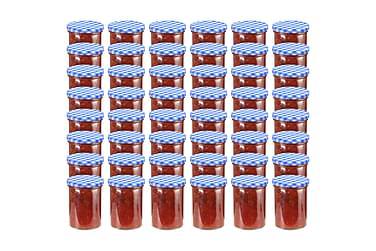 Syltburkar i glas med vita och blåa lock 48 st 400 ml