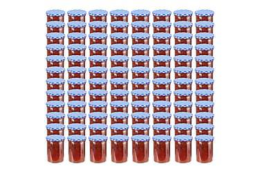Syltburkar i glas med vita och blåa lock 96 st 400 ml