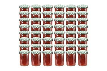 Syltburkar i glas med vita och gröna lock 48 st 400 ml