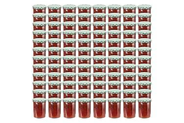 Syltburkar i glas med vita och gröna lock 96 st 400 ml