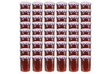 Syltburkar i glas med vita och lila lock 48 st 400 ml