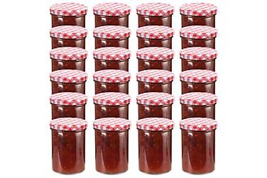 Syltburkar i glas med vita och röda lock 24 st 400 ml