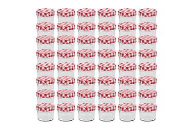 Syltburkar i glas med vita och röda lock 48 st 110 ml