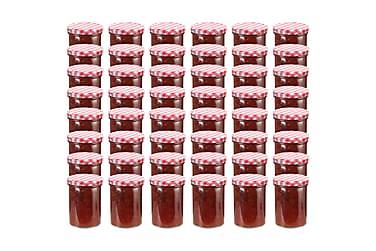 Syltburkar i glas med vita och röda lock 48 st 400 ml