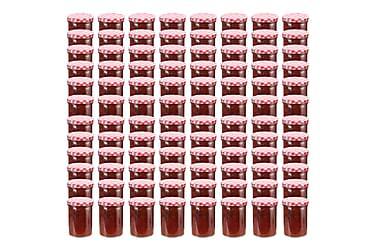 Syltburkar i glas med vita och röda lock 96 st 400 ml
