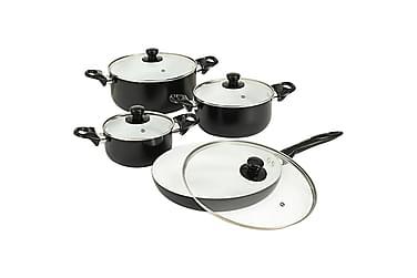 Köksset 8 delar svart aluminium