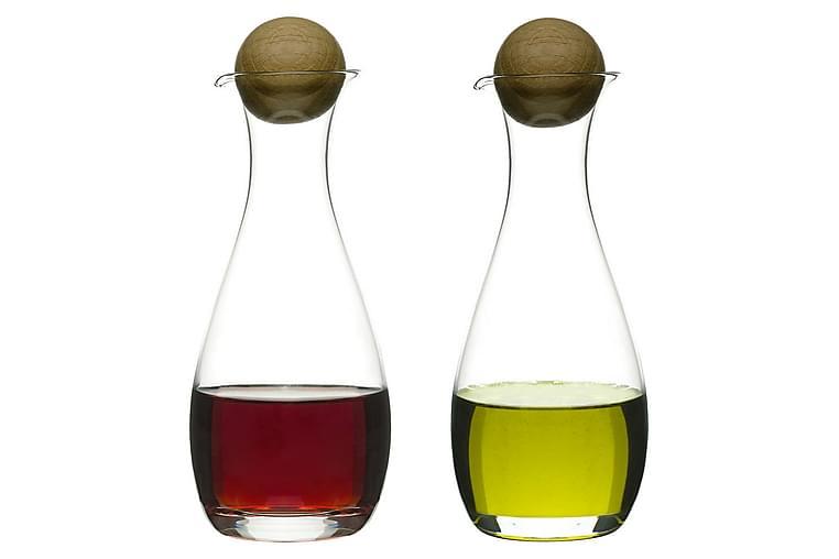 Oval oak olja/vinägerflaska med ekkork, 2-pack