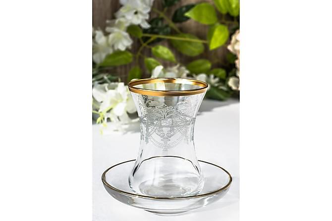 Noble Life Teservis Glas 12 Delar Glas - Guld - Heminredning - Husgeråd & kökstillbehör - Muggar & koppar