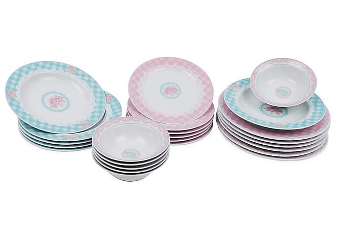 Kütahya Middagsservis 24 Delar Porslin - Vit/Blå/Rosa - Heminredning - Husgeråd & kökstillbehör - Porslin