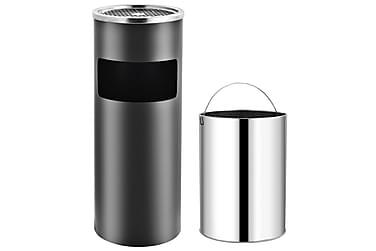 Askfat/soptunna 30 L stål grå