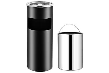 Askfat/soptunna 30 L stål svart