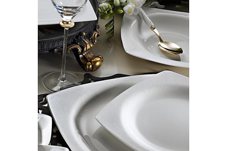 Kütahya Middagsservis 62 Delar Porslin - Vit/Guld - Heminredning - Husgeråd & kökstillbehör - Tallrikar