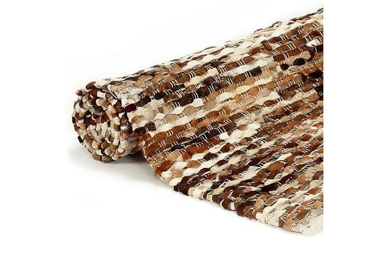 Matta äkta läder 120x170 cm brun/vit - Brun - Heminredning - Mattor - Fällar & skinnmattor
