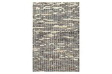 Matta äkta läder 80x150 cm svart/vit